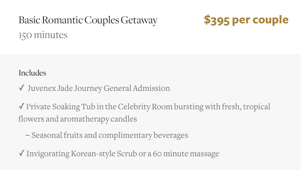 Romantic Couples Spa Packages Nyc