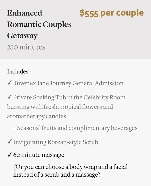 Basic & Enhanced Romantic Couples Spa Getaway in New York City NYC Manhattan
