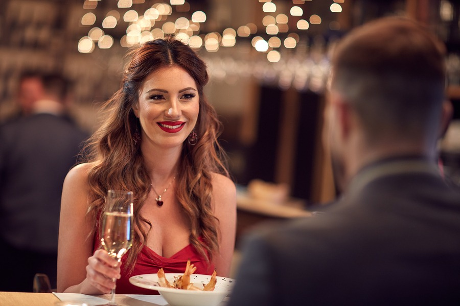 Couple celebrate Valentine's day with romantic dinner